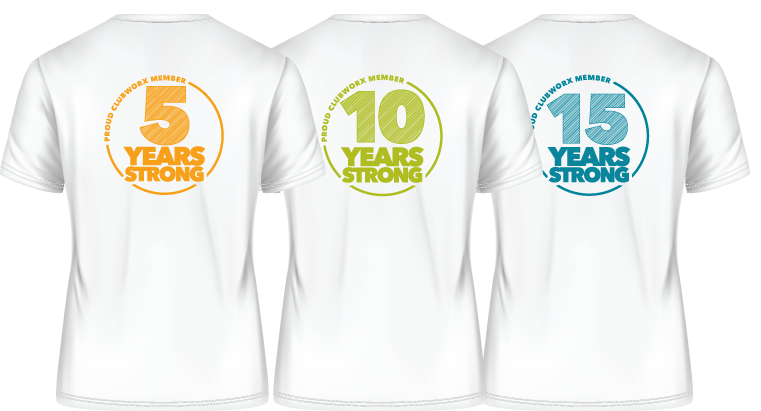 ClubWorx 5, 10 and 15 Years Strong T-shirts