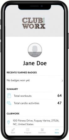 View your account, badges, profile and total workouts